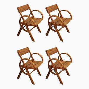 Vintage Chairs in Oak, 1960s, Set of 4