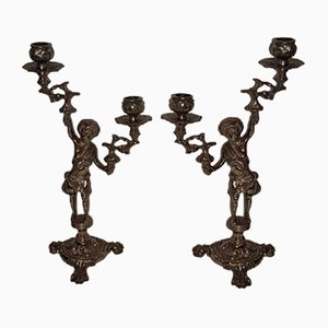 Italian Brass Cherub Candelabras, Set of 2