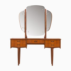 Mid-Century Scandinavian Teak Vanity with Brass Handles and Adjustable Mirror