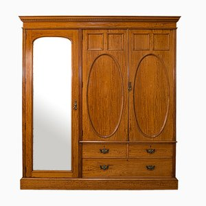 Antique Edwardian Bedroom Wardrobe in Satinwood from Maple and Co