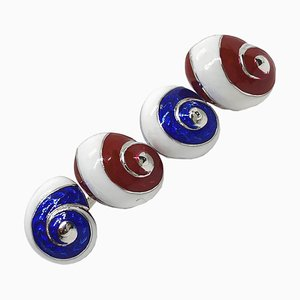 Blue, White & Red Hand-Enameled Seashell Cufflinks in Sterling Silver from Berca