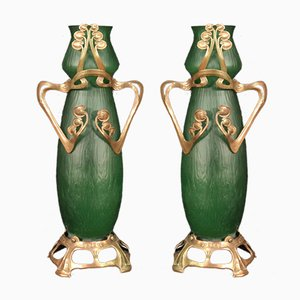 French Glass Vases in Art Nouveau Style, Set of 2