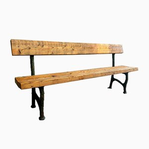 Antique Garden Bench with Cast Iron Legs & Wooden Beams