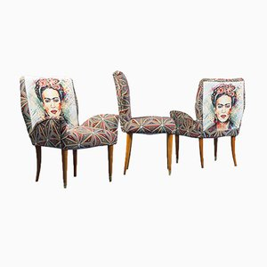 Fabric and Wood Chairs, 1950s, Set of 3