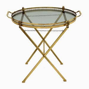 Vintage French Folding Side Table in Brass