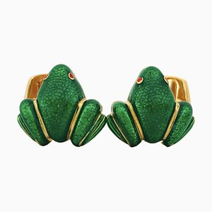 Green Hand-Enameled Sterling Silver & Gold Plated Cufflinks in Frog Shape from Berca