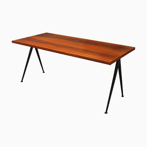 Large Teak Compass Pyramid Table by Wim Rietveld for Ahrend De Cirkel, 1950s