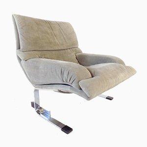 Saporiti Italian Onda Suede Lounge Chair by Giovanni Offredi