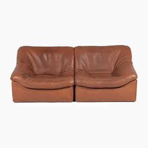 Buffalo Leather DS-46 2-Seater Modular Sofa from De Sede, 1970s, Set of 2