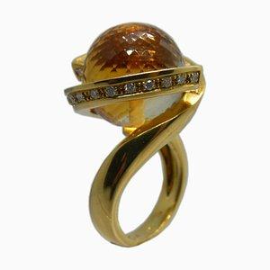 25.7kt Natural Citrine Quartz Ball, White Diamond & Yellow Gold Helix Ring from Berca