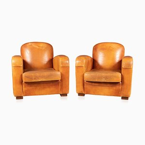 20th Century French Art Deco Style Leather Club Chairs, Set of 2