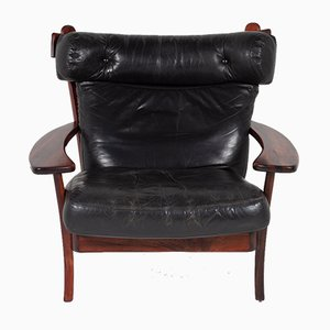 Mid-Century Modern Ox Lounge Chair in Leather by Sergio Rodrigues, 1960s