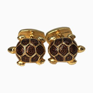 Golden Brown Hand-Enameled Sterling Silver & Gold Plated Turtle Cufflinks from Berca