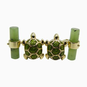 Light Green Hand-Enameled & Inlaid Turtle Cufflinks in Jade & Gold from Berca