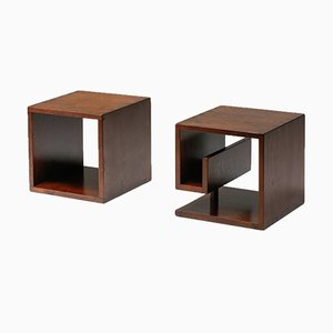 Italian Cubic Stained Oak Side Tables, 1970s, Set of 2