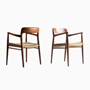 Model 56 & Model 75 Teak & Papercord Dining Chairs by Niels Moller for J. L. Møllers, 1960s, Set of 12
