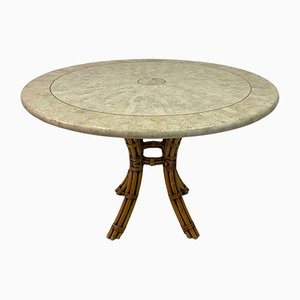 Tessellated Fossil Marble and Bamboo Dining Table, 1970s