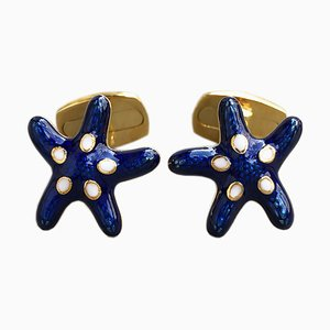Navy Blue Hand-Enameled Sterling Silver & Gold Plated Starfish Cufflinks from Berca