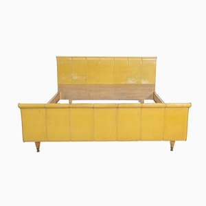 Italian Bed in Yellow Parchment, Wood and Brass