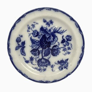 Antique Earthenware Platter with Water Nymph Pattern in Blue from Wedgwood, England, 1850s