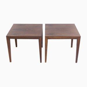 Wooden Side Tables by Severin Hansen Jr. for Haslev Møbelsnedkeri, Set of 2