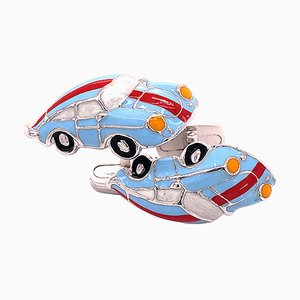 Porsche Shaped Le Mans Hand Enameled Sterling Silver Cufflinks from Berca, Set of 2