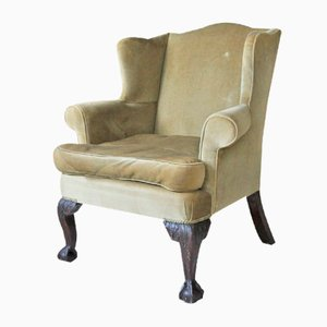 Victorian Wingback Armchair with Claw and Ball Ornate Feet