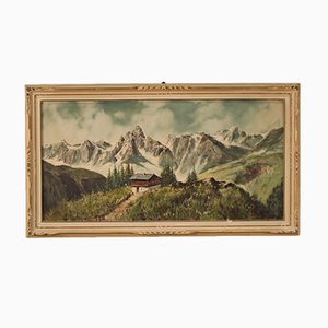 Signed Italian Mountain Landscape Painting