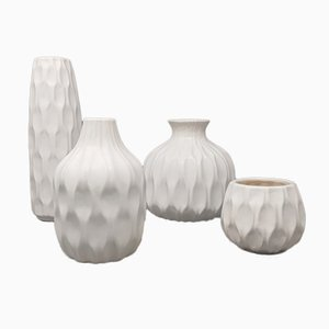White Vases in Ceramic, Italy, 1970s, Set of 4