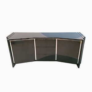 Vintage American Black Lacquer / Laminate & Chrome Sideboard, 1980s