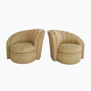 Large Art Deco Asymmetric Shell Shaped Swivel Chairs, 1980s, Set of 2