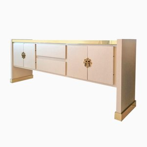 Tommi Parzinger Style Vintage Sideboard with Ornate Brass Fish Handles, USA, 1980s