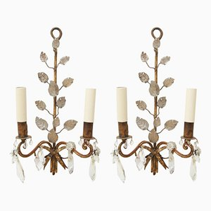 Wall Sconces with Leaf Detail from Maison Baguès, 1950s, Set of 2