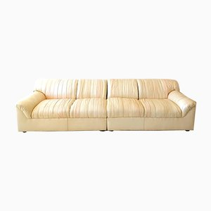 Vintage Pale Pink and Cream Pleated Leather Sofa, 1980s
