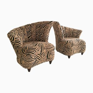 Large Vintage Shell Back Asymmetric Lounge Chairs in Zebra Fabric, 1980s, Set of 2
