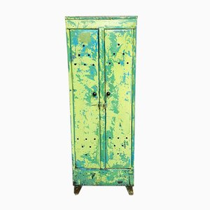 Industrial Locker Cabinet in Green and Blue