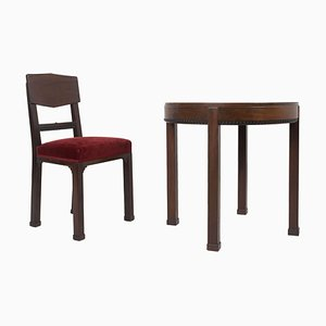 Art Deco Amsterdam Chair and Table in Mahogany, The Netherlands, 1930s