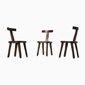 French Sculptural Dining Chairs in Stained Elm, Set of 6