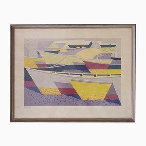 Båtparad, Color Lithograph by Waldemar Lorentzon, 1953