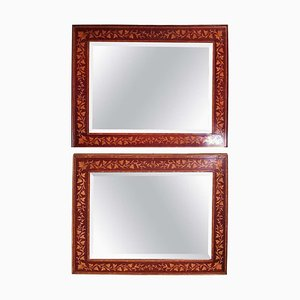 Biedermeier Italian Mahogany Mirrors Inlaid with Ivy Decoration, Set of 2