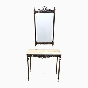 Wall Mirror and Console with Portuguese Pink Marble Top and Brass Frame, Italy, Set of 2