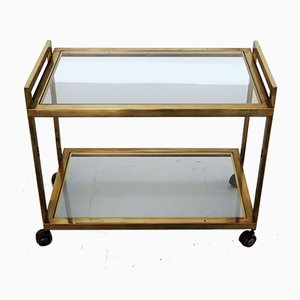 Italian Bar Trolley in Brass and Glass, 1970s