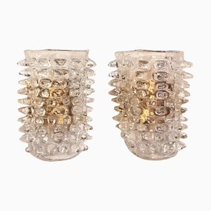 Large Rostrato Murano Glass Wall Sconces in the Manner of Barovier, Set of 2