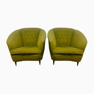Green Fabric Seats, 1960s, Set of 2