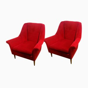 Red Velvet Armchairs, 1960s, Set of 2