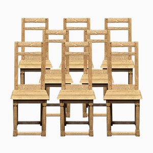 French Bleached Oak Farmhouse Kitchen Dining Chairs, Set of 8