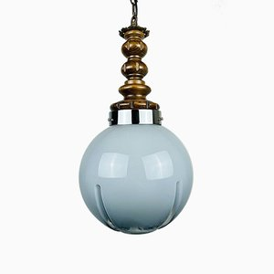 Mid-Century Blue and Grey Murano Pendant Lamp from Mazzega, Italy, 1970s