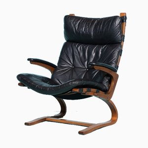 Norwegian Mid-Century Lounge Chair in Plywood & Black Leather by Elsa & Nordahl Solheim for Rybo Rykken & Co