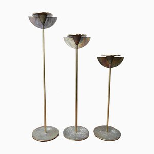 Mid-Century Brass Candlesticks, Set of 3