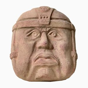 Large Vintage Olmec Terracotta Wall Head, Mexico, 1970s